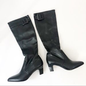 Franco Sarto boots leather pull on heel boots